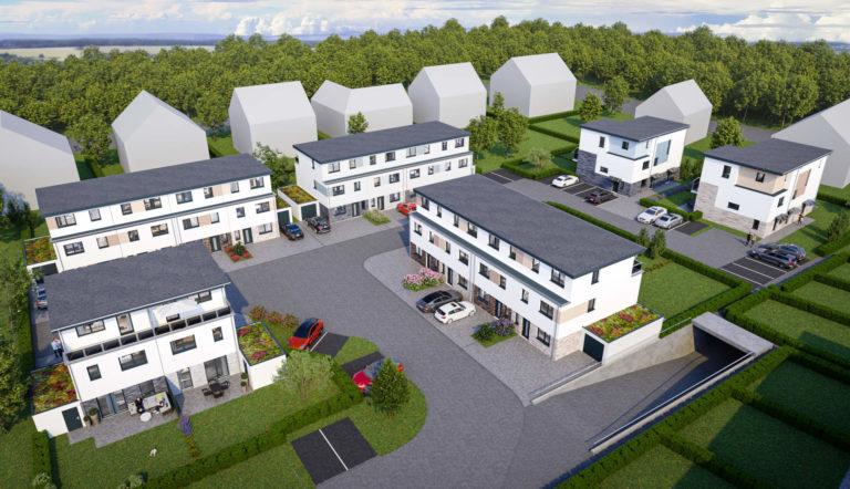 Vogelperspektive des Neubauprojekts in Grevenbroich