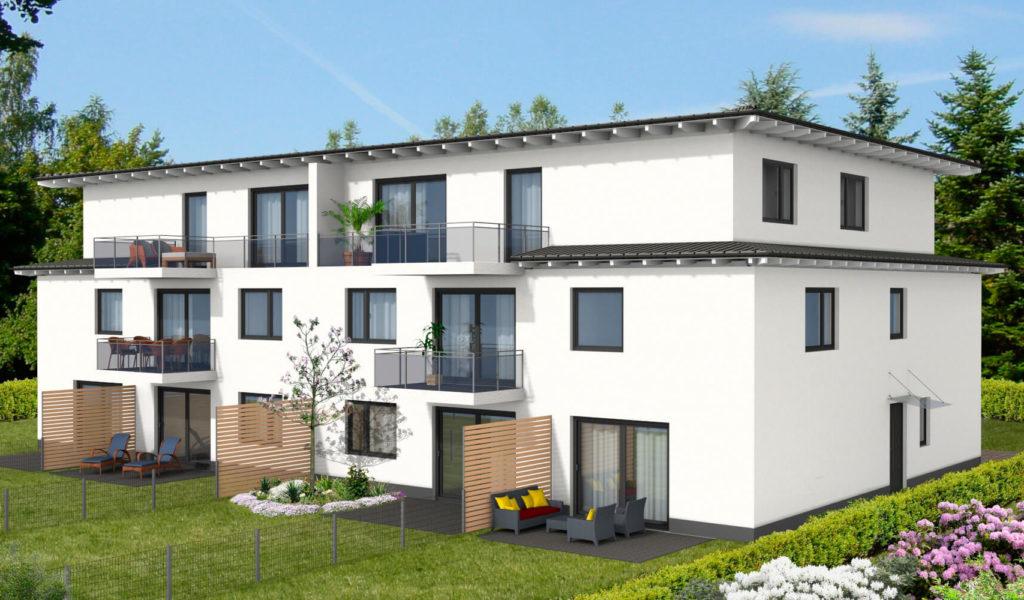 Visualisierung eines modernen Mehrfamilienhauses mit Terrassen, Garten und Balkonen