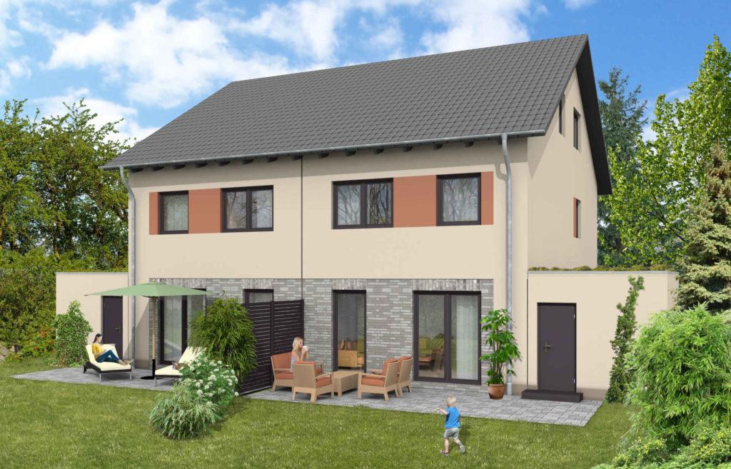 Visualisierung von einem Doppelhaus für private Hauskäufer